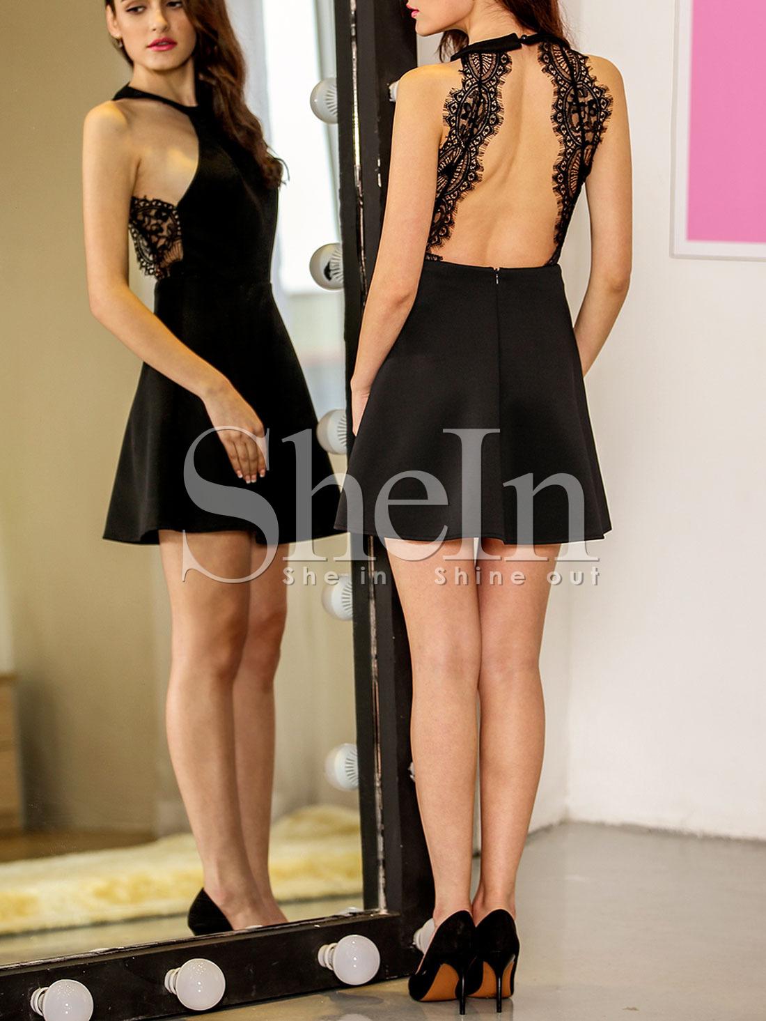 Black Lace Backless Dresses