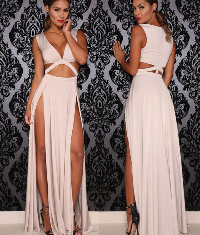 Summer Sexy High Split Bandage Prom Dress Long Cocktail Party Maxi ...