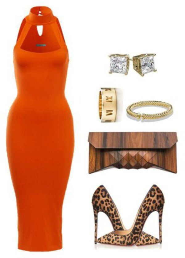 dress bodycon dress orange dress halter dress midi dress
