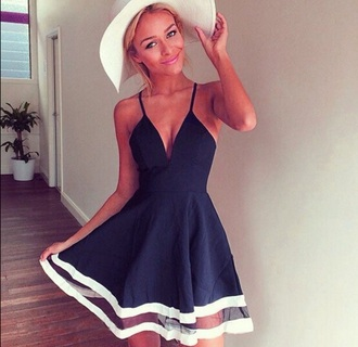dress navy dress blue dress mesh dress skater skirt summer dress summer hat cleavage hat