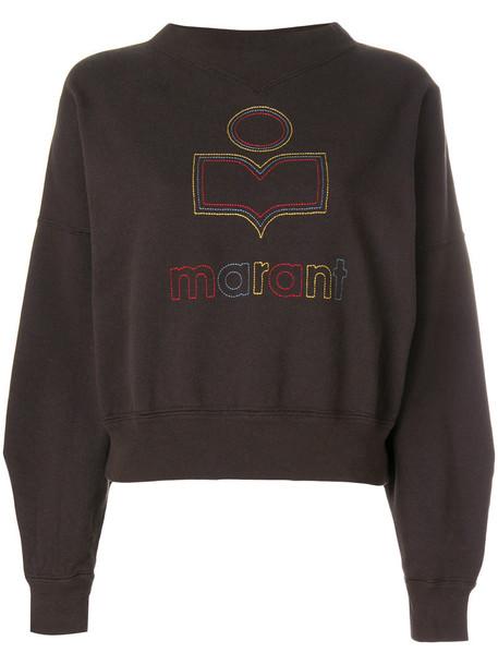 sweatshirt embroidered women cotton brown sweater