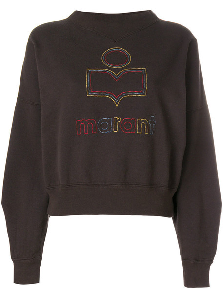 Isabel Marant etoile sweatshirt embroidered women cotton brown sweater