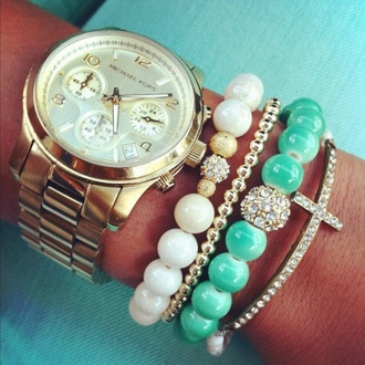 jewels teal beads bracelets cross jewelry gold beads