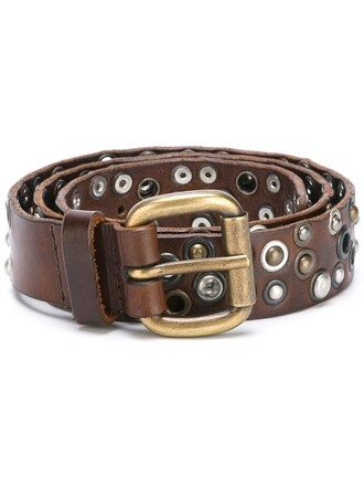 studded belt studded women belt leather brown