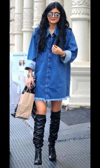 coat blue shirt kylie jenner black heels kylie jenner shoes