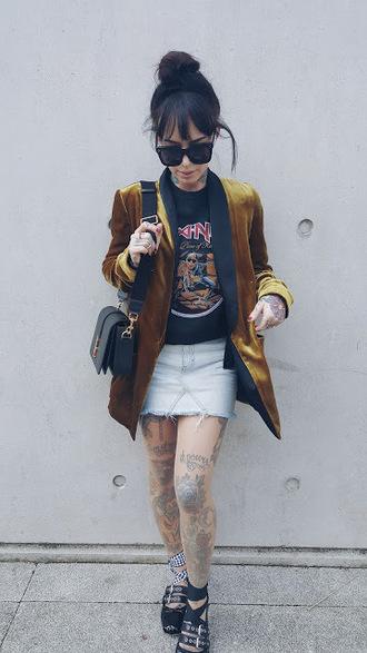 t-shirt blazer velvet blazer denim skirt mini skirt ballet flats blogger blogger style band t-shirt shoulder bag