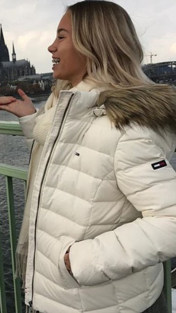 Jacket Tommy Hilfigher White Cute Winter Outfits Beautiful