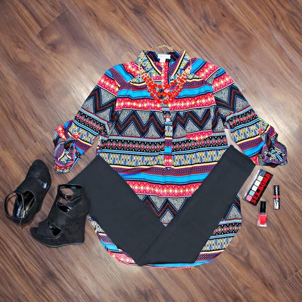 blouse tribal pattern chevron aztec print button pull tab sleeve pull tab yellow leggings shoes make-up nail polish