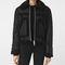 Allsaints us: womens asher shearling biker jacket (black)