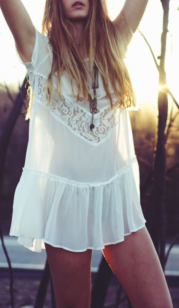 Dress Boho Boho Dress White Dress Lace Dress Sheer