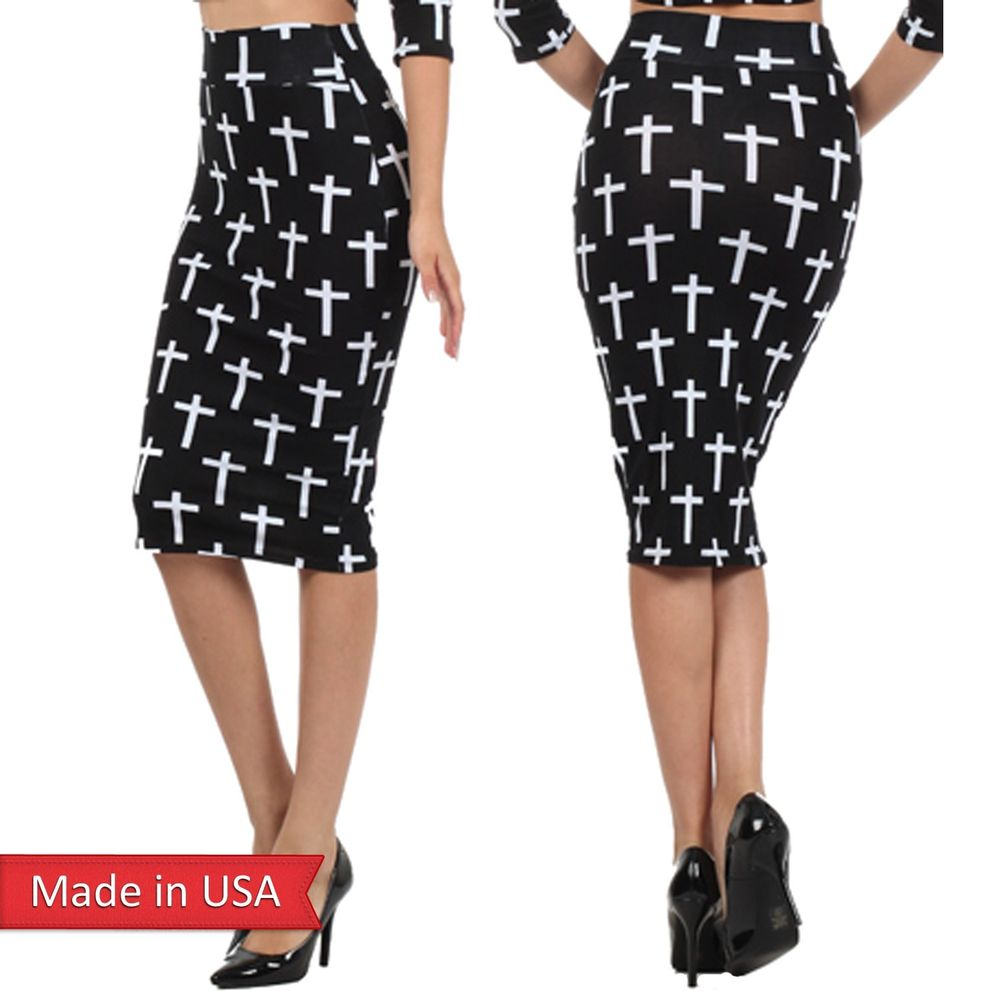 Women Cotton Black White Cross Print Fitted High Waist Pencil ...