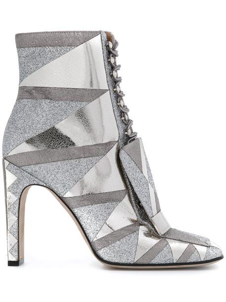 Sergio Rossi women leather grey metallic shoes
