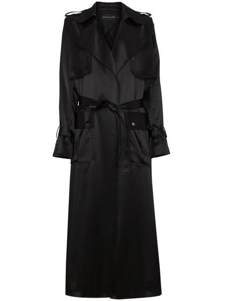 coat trench coat oversized long women black silk