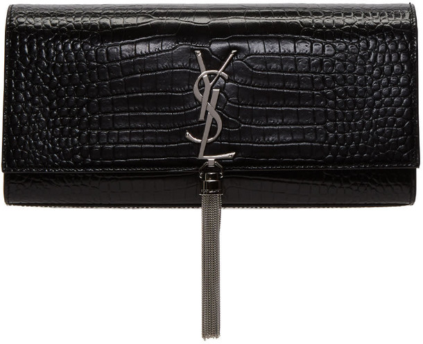 Saint Laurent tassel clutch black bag