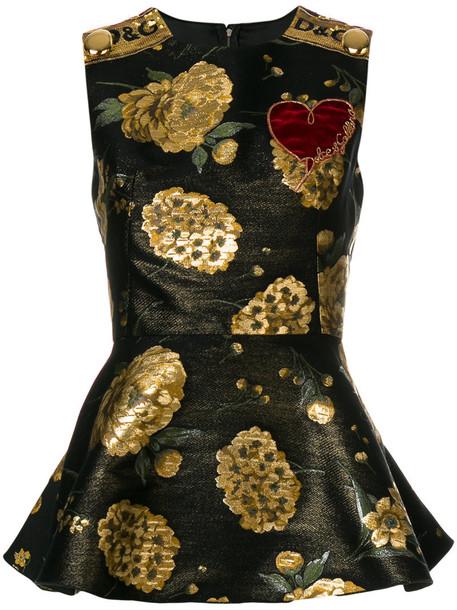 Dolce & Gabbana top peplum top women cotton black silk