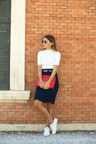 lovely pepa blogger lace skirt stan smith red bag