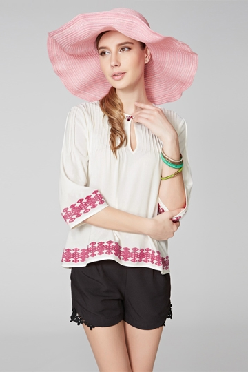 Ethnic Style Embroidered Loose Shirt [FDBI00432]- US$ 64.99 - PersunMall.com