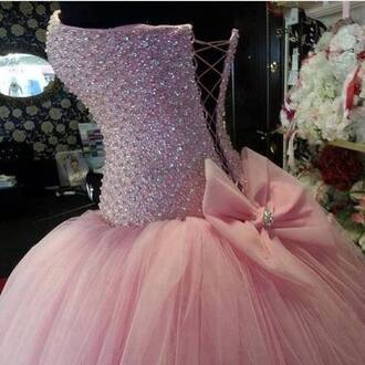 dress studded corset bow clothes prom dress pink pink dress beautiful ball gown dress lace up diamonds lace dress bows sparkle dress pink cute quince sparkly dress tool skirt.