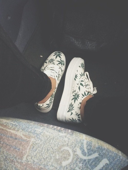 shoes green shoes white weed swaggie platform shoes