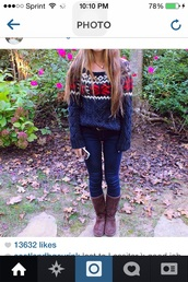 fair isle sweater,abercrombie & fitch,christmas sweater,ugg boots,wendy pearls,holiday sweater