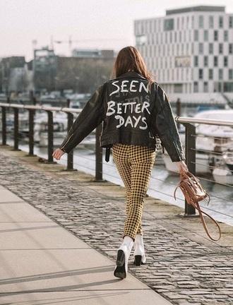 jacket leather jacket black jacket black leather jacket pants yellow pants boots bag customized