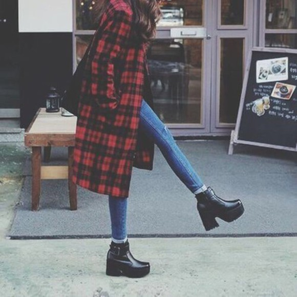 jacket black red