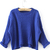 Blue Long Sleeve Cable Knit Crop Sweater - Sheinside.com