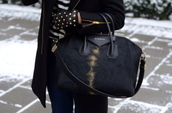 bag givenchy bag, black, gold