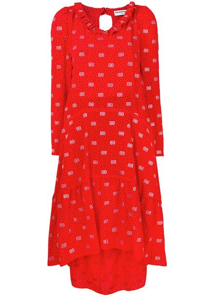 Balenciaga dress women silk wool red