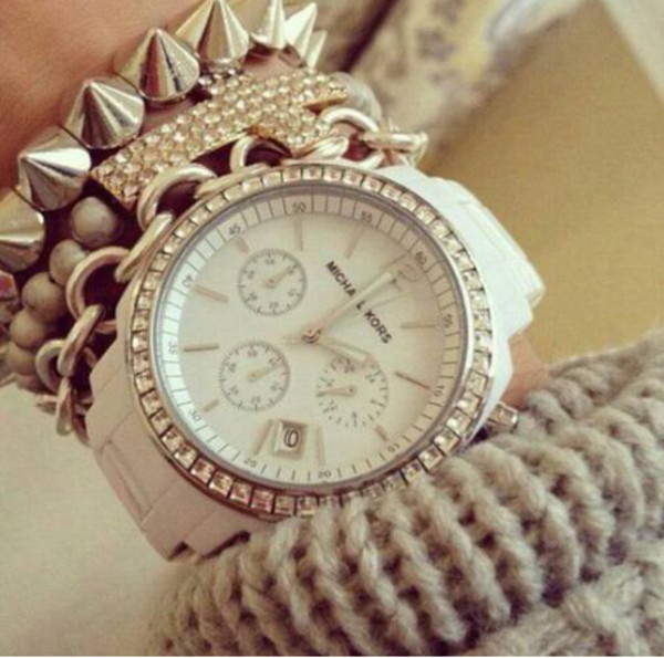 jewels stacked bracelets michael kors watch bracelets set bracelets luxury michael kors watch jewelry silver silver bracelet arm candy arm party spikes spiked bracelet