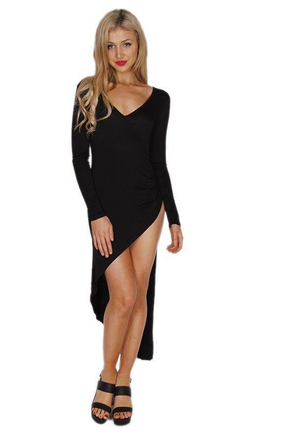 black dress black maxi asymmetrical hem high split dress long sleeve dress long sleeve maxi dress www.ustrendy.com