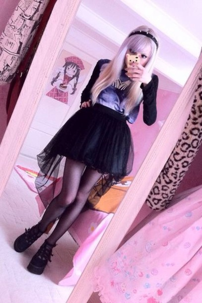 shirt black hi-low skirt kawaii pastel goth goth net dress pastel black tulle skirt tulle skirt cute skirt shoes tights goth black tights top skeleton hands jewelry fairy kei spike headband black skirt gothic skirt goth skirt cool skirt kawaii shoes black shoes platform shoes hair dye ombre hair kawaii accessory platform shoes long sleeves