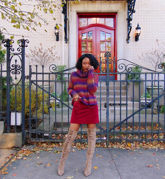 sweater tumblr knit knitwear knitted sweater turtleneck turtleneck sweater skirt boots over the knee boots over the knee nude boots