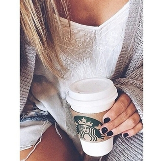 top lace top white top cardigan gray cardigan tumblr outfit starbucks