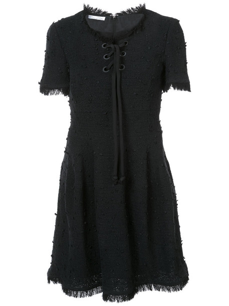 dress lace up dress short women lace cotton black