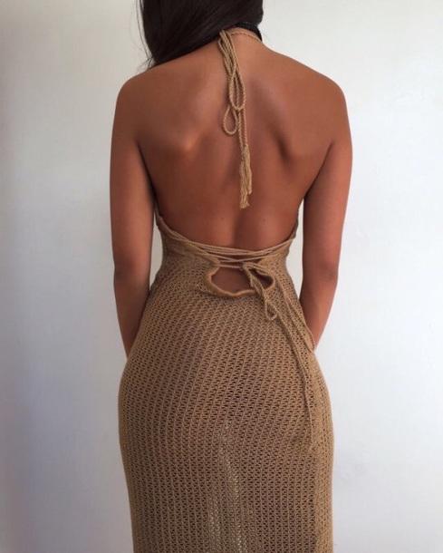 135c098d199 dress halter dress brown summer crochet beach dress
