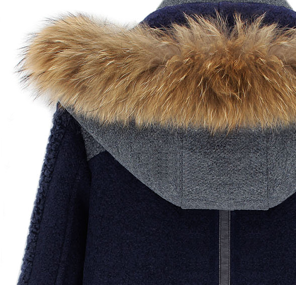 Blue Contrast Grey Panel Detachable Fur Hood Wool Blend Coat - Sheinside.com