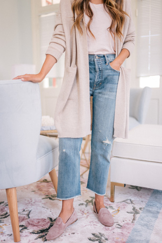 gal meets glam blogger sweater t-shirt jeans shoes cardigan loafers fall outfits