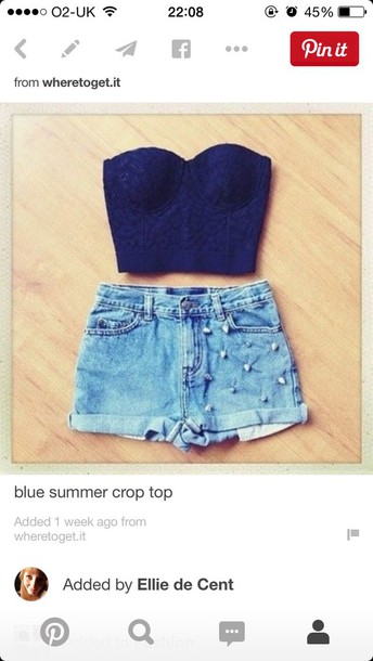 top navy crop tops bralette style strapless summer outfits