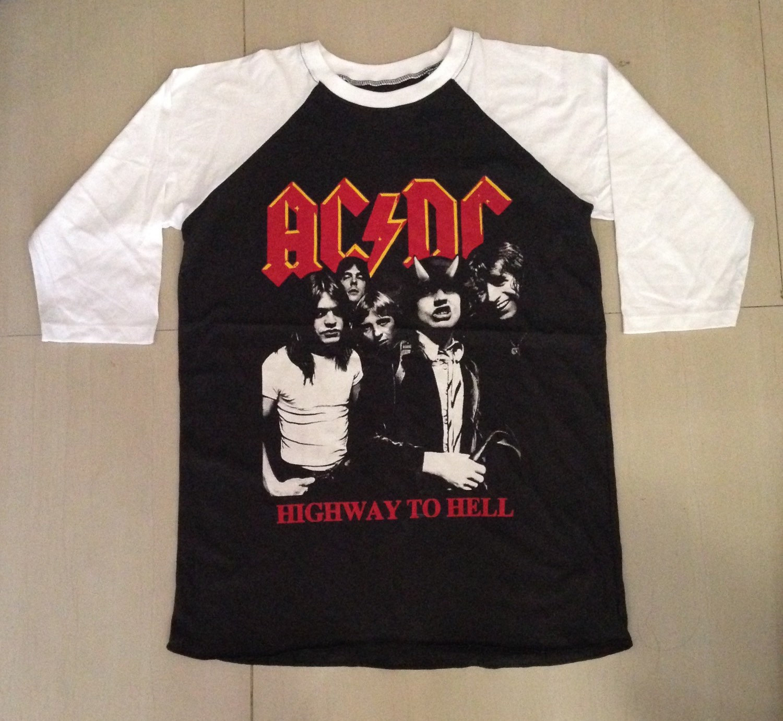 Vintage acdc baseball long sleeve tshirt jersey raglan long sleeve t shirts unisex size s m l