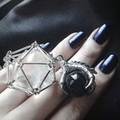 jewels,goth,dark blue nails,dark,nails,claw ring,claw,ring,black ball,white ball,chain ring,ball,gemstone ring,gemstone,silver,black onyx ring,claws ring