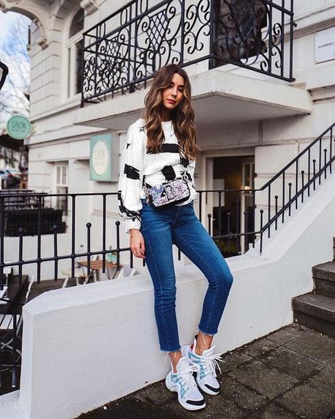 shoes sneakers jeans top striped top bag louis vuitton denim blue jeans stripes crossbody bag
