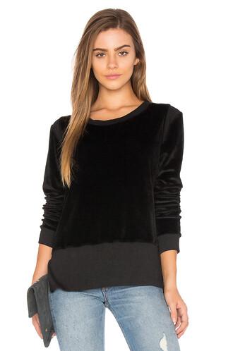 sweatshirt velvet black sweater