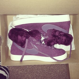 shoes purple nike nike blazer nike blazer mid fur fluffy winter outfits cold cozy box nike sneakers nike blazer fur swag alternative indie hipster