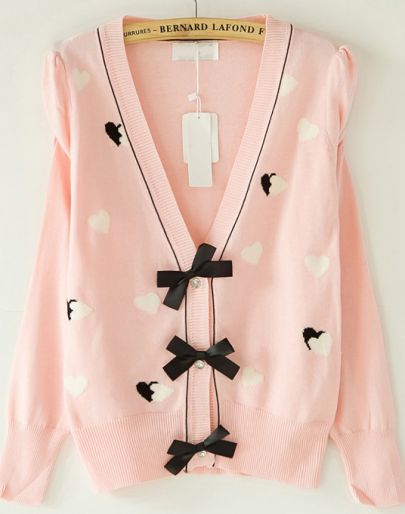 Pink Puff Sleeve Heart Pattern Bowknot Front Cardigan
