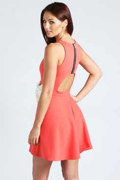 Penelope Skater Dress With Bow Detail at boohoo.com