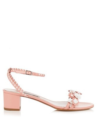 daisy embellished sandals leather sandals leather white pink shoes