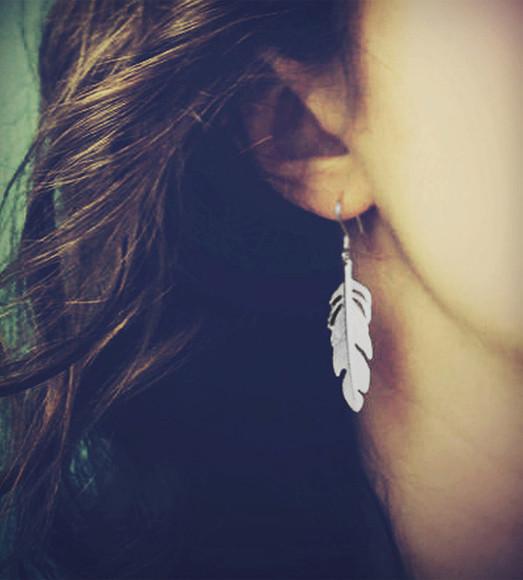 jewels feathers earrings girly femenine simple dangle earrings