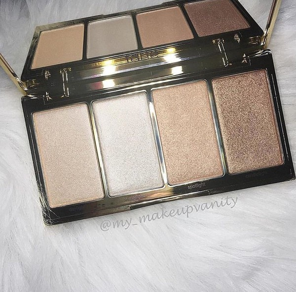 make-up highlighter palette gold white