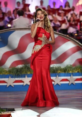 dress gown strapless strapless dress prom dress red dress nicole scherzinger